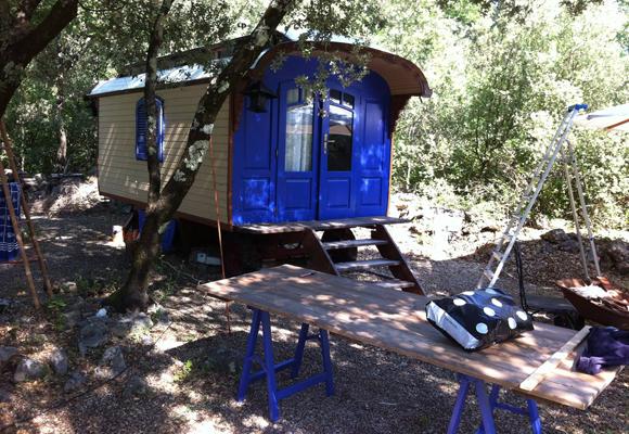Fresh blue caravan