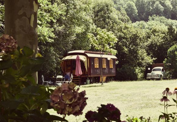 Brown gypsy caravan